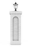 Brick Column with Street Lamp. 3d Rendering. Brick Column with Street Lamp on a white background. 3d Rendering royalty free illustration