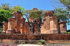 Brick columns of cham temple in Nha Trang, Vietnam Stock Photo