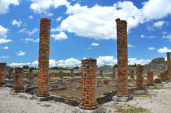 Brick columns in roman ruins Royalty Free Stock Images