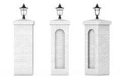 Brick Columns with Street Lamps. 3d Rendering Royalty Free Stock Image