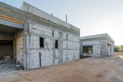 Brick and concrete house under construction Royalty Free Stock Image