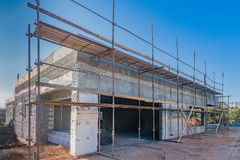 Brick and concrete house under construction Stock Images