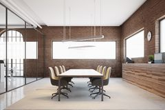 Brick conference room interior. Brick meeting room interior with a glass wall and a long table with beige chairs. Ceiling lamps. A side view. 3d rendering mock Royalty Free Stock Photo