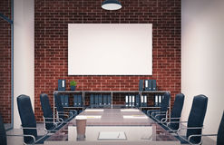 Brick conference room, poster, toned. Brick meeting room interior with a long table with reflecting surface, clipboards lying on it and two rows of black office Royalty Free Stock Photography