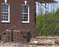 Brick construction. Brick house under construction royalty free stock photo