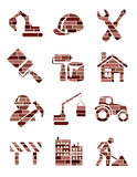 Brick construction icons Stock Photography