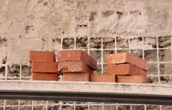 Brick in a construction site Royalty Free Stock Photos