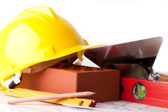 Brick and construction tools Royalty Free Stock Images