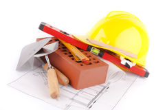 Brick and construction tools Stock Image