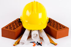 Brick and construction tools Royalty Free Stock Photos