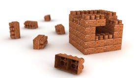 Brick constructor. Brick house engineering on white Stock Image