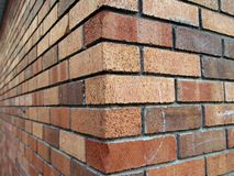 Brick corner. Brick wall corner background Stock Photography