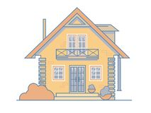 Brick cosy cottage house with a balcony, attic, bushes and large windows. Vector illustration EPS 10 file. stock illustration