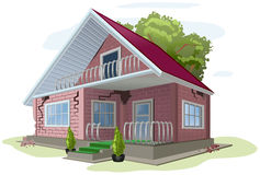 Brick cottage with cracks on walls. Red brick house error construction Royalty Free Stock Photo