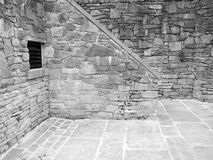 Brick courtyard stone old aged grey ventilated Stock Images