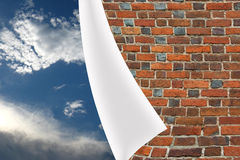 Brick cuff on the beautiful panorama of blue sky Royalty Free Stock Images