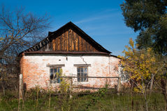 Brick dilapidated house. In the countryside in Russia Stock Photography