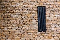 Brick door with black door Stock Photo