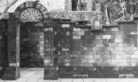 Brick door and wall on black and white Royalty Free Stock Photos
