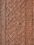 Brick driveway. Driveway with a weathered brick pattern in the cement Stock Image