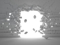 Brick explosion. 3d image of breaking brick wall Stock Image