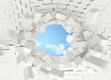 Brick explosion and sky. White brick explosion and sky 3d rendering image Stock Photo