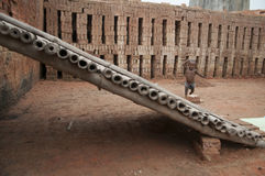 Brick Factory in India. Royalty Free Stock Photos