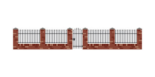 Brick fence. And gate in flat style. Brickwall with metal bars vector illustration