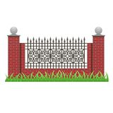 Brick fence with pillars and decorative grille Stock Photography