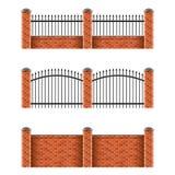Brick fences set isolated on white vector Stock Photos
