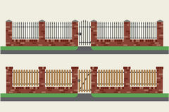 Brick fences with wooden and metal. Royalty Free Stock Photo