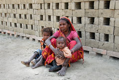 Brick field labour in India Stock Image