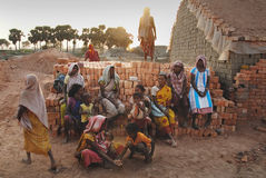 Brick field labour in India Stock Photo