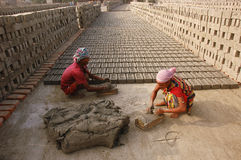 Brick field in West Bengal-India Stock Photos