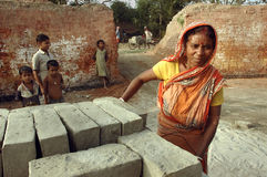 Brick field in West Bengal-India Stock Image
