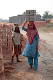 Brick field workers stock images