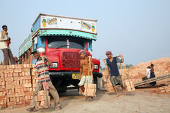 Brick field workers Stock Image