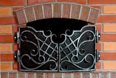 Brick fireplace Royalty Free Stock Image