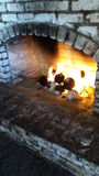Brick Fireplace Stock Photo