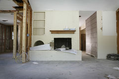 Brick Fireplace In House Under Renovation Stock Photo