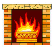 Brick fireplace icon. Illustration of the brick fireplace icon Royalty Free Stock Photo