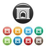 Brick fireplace icons set color vector. Brick fireplace icon. Simple illustration of brick fireplace vector icons set color isolated on white Royalty Free Stock Photo