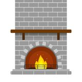 Brick Fireplace Isolated. Vector illustration of grey brick fireplace isolated on white background, with empty shelf and burning fire in flat style Stock Image