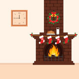 Brick fireplace with treats for Santa. Christmas illustration in flat style. The interior of the room. Vector Stock Photography