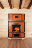 Brick fireplace Stock Image