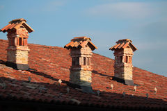 Brick fireplaces Stock Images