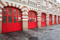 Brick Firestation Doors Stock Photo