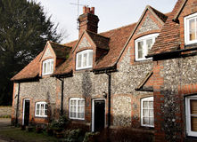 Brick and Flint Cottages. Terraced Row of Brick and Flint English Village Cottages Stock Image