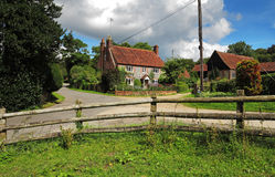 Brick and Flint English Farmhouse in the Hambleden Valley. A Traditional English Village Brick and Flint Farmhouse in the Chiltern Hills Stock Photography