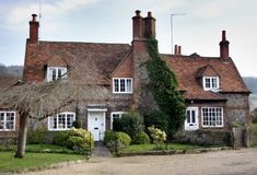 Brick and Flint House. On an English  Village Street Stock Images